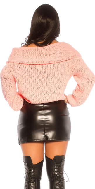 Trendy KouCla XL turtleneck coarse cord jumper Salmon